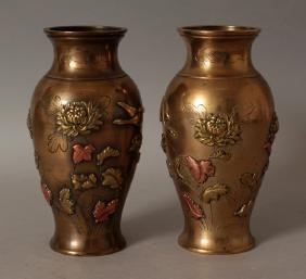 A PAIR OF JAPANESE MEIJI PERIOD ONLAID POLISHED BRONZE