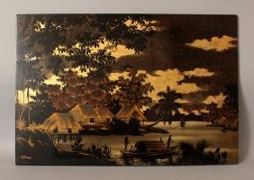 A 20TH CENTURY SIGNED SOUTH-EAST ASIAN LACQUERED WOOD