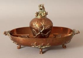 A EUROPEAN JAPANESE STYLE COPPERED BRONZE DESK SET,