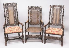 THREE LATE 17TH CENTURY WALNUT ARMCHAIRS, all with