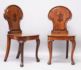 A GOOD PAIR OF 19TH CENTURY MAHOGANY HALL CHAIRS by A.