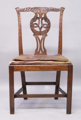 A GEORGE III DESIGN MAHOGANY DINING CHAIR, with carved