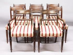 A SET OF EIGHT GEORGE IV MAHOGANY DINING CHAIRS, two