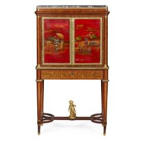 A 19TH CENTURY FRENCH LACQUER CABINET ON STAND by