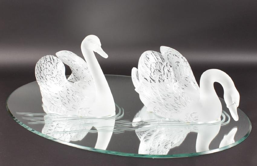 A SUPERB LALIQUE SWAN TABLE CENTREPIECE formed as two