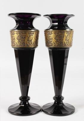 A GOOD PAIR OF 19TH CENTURY MOSER AMETHYST TAPERING