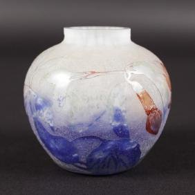 A MINIATURE DAUM NANCY BULBOUS CAMEO BLUE VASE.  Cameo