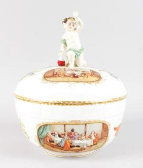 A GOOD BERLIN CIRCULAR PUNCH BOWL AND COVER, with cupid