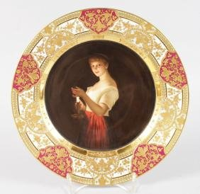 A SUPERB VIENNA PORTRAIT PLATE with rich gold border,
