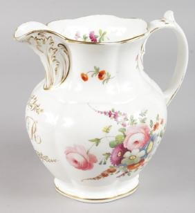 A 19TH CENTURY ENGLISH JUG, PROBABLY DAVENPORT painted