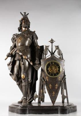 A LARGE AND IMPOSING 19TH CENTURY BRONZE FRENCH KNIGHT