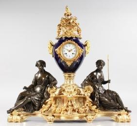 A FABULOUS QUALITY LOUIS XVI BRONZE, ORMOLU AND BLUE