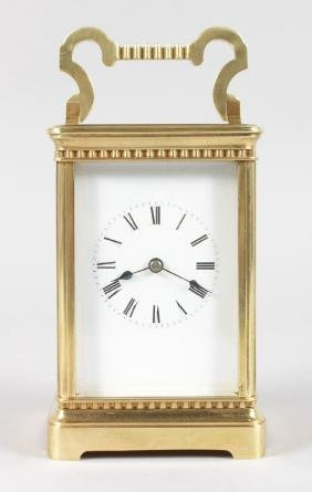 A GOOD 19TH CENTURY FRENCH BRASS CARRIAGE CLOCK