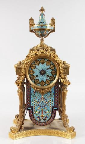 A VERY GOOD 19TH CENTURY FRENCH CHAMPLEVE ENAMEL CLOCK,
