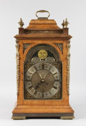 A GEORGE III MAHOGANY BRACKET CLOCK CASE with dial by