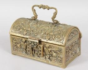 A 19TH CENTURY FRENCH DOMED BRONZE JEWELLERY CASKET