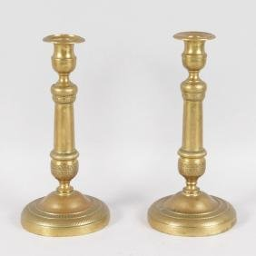 A PAIR OF 18TH CENTURY FRENCH ORMOLU CIRCULAR ETCHED