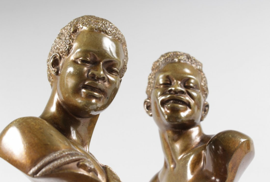 A RARE PAIR OF 19TH CENTURY BRONZES OF NEGRO BUSTS - 2