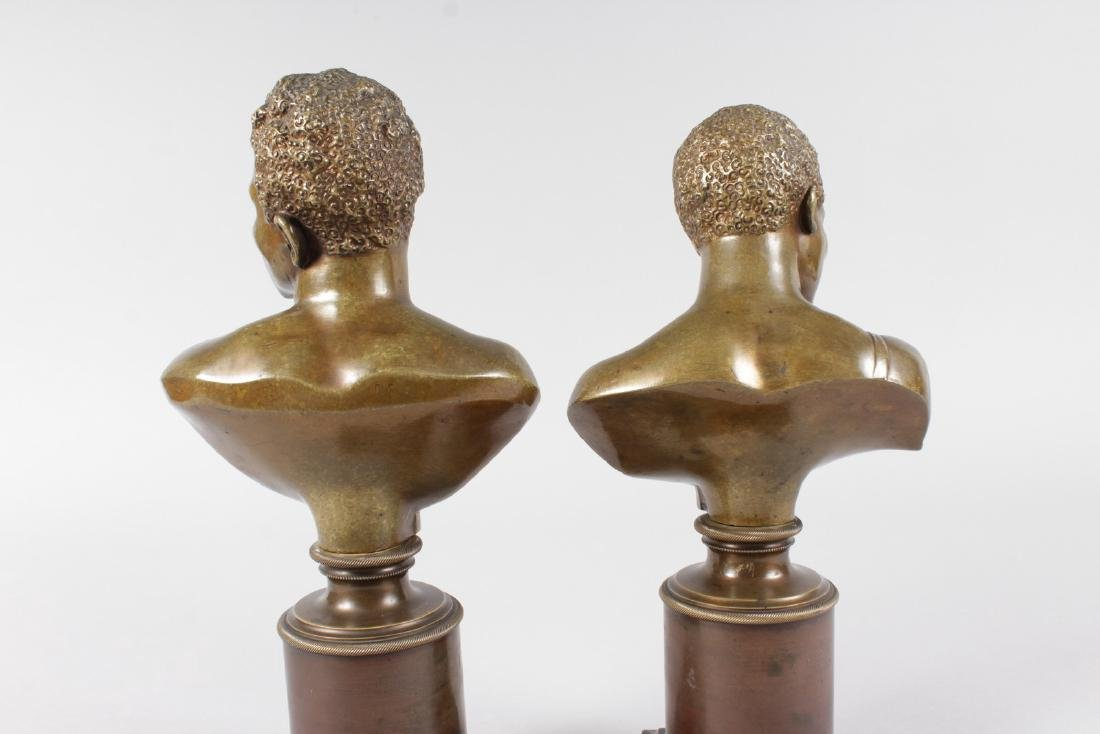 A RARE PAIR OF 19TH CENTURY BRONZES OF NEGRO BUSTS - 3