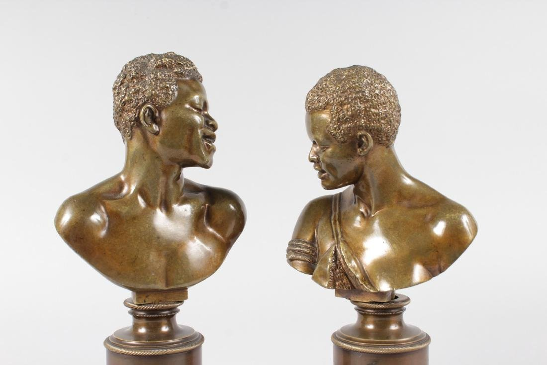 A RARE PAIR OF 19TH CENTURY BRONZES OF NEGRO BUSTS - 5