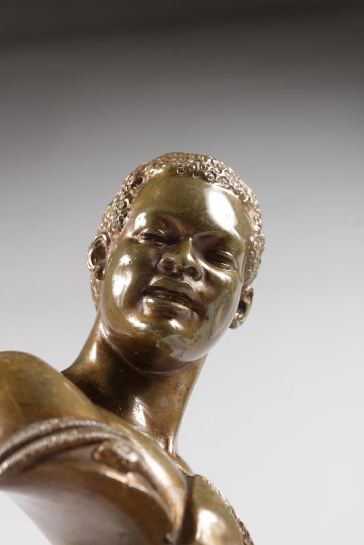 A RARE PAIR OF 19TH CENTURY BRONZES OF NEGRO BUSTS - 6