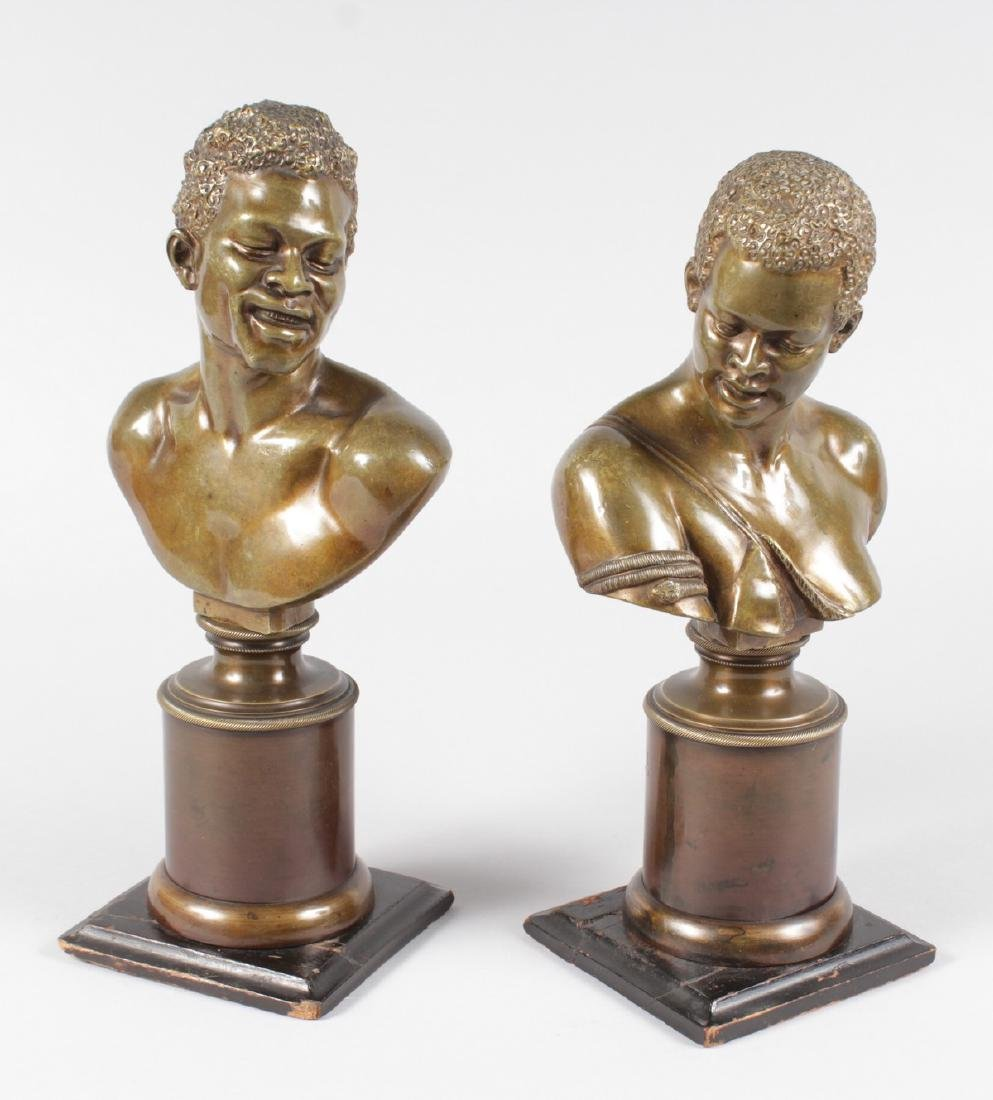 A RARE PAIR OF 19TH CENTURY BRONZES OF NEGRO BUSTS - 8