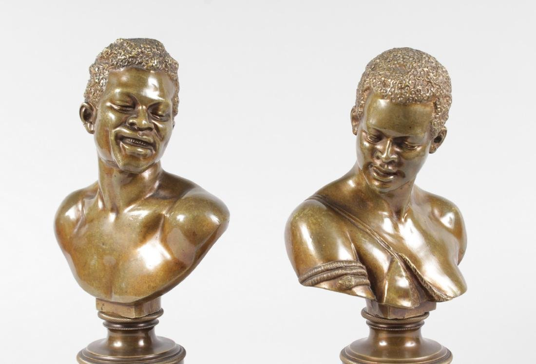 A RARE PAIR OF 19TH CENTURY BRONZES OF NEGRO BUSTS - 9