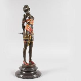AFTER BRUNO ZACH  A BRONZE GILDED SEMI CLAD STANDING