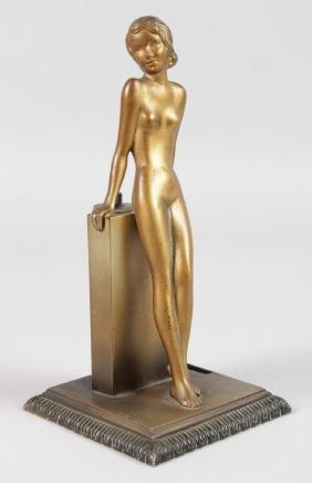 JOSEF LORENZL (CIRCA. 1930)  A GILT AUSTRIAN LIGHTER. A