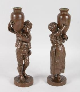 A PAIR OF 19TH CENTURY FRENCH BRONZE FIGURES OF A BOY