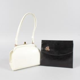 A SPEARO CREAM LEATHER HANDBAG and A BLACK BAG (2).