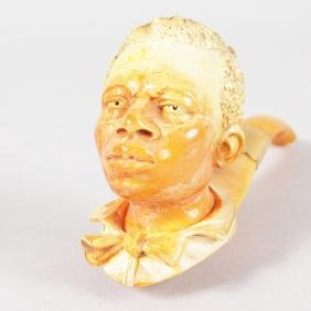 A VERY GOOD MEERSCHAUM AND AMBER PIPE, carved as the