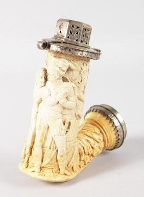 A RARE FRENCH MEERSCHAUM PIPE, with silver mounts,