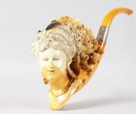 A SUPERB LARGE MEERSCHAUM PIPE, with silver band and