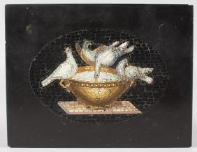 AN ITALIAN MICRO MOSAIC TABLET, three doves and an urn.
