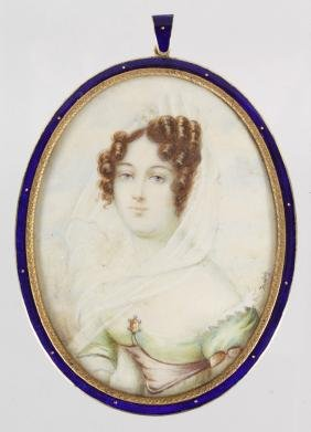F. SABEY  Oval portrait of a young lady.  Signed.  3ins