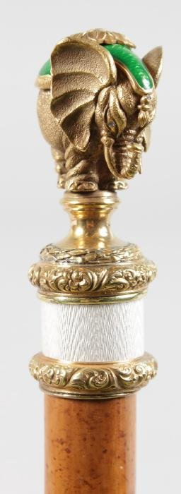A RUSSIAN FABERGE CANE with enamel and silver gilt