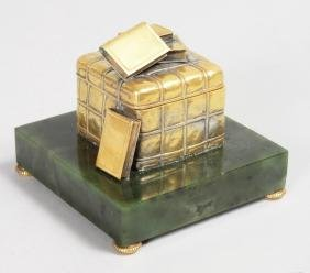 A RARE FABERGE STYLE JADE AND SILVER INKWELL, as a box