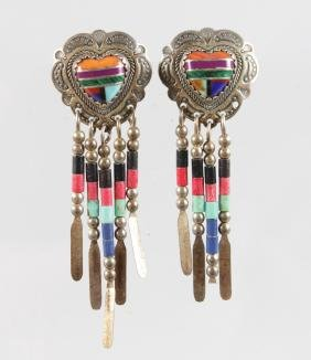 A PAIR OF AMERICAN INDIAN SILVER AND ENAMEL EARRINGS.