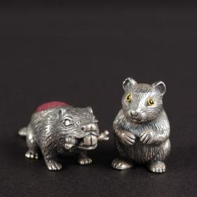 TWO SMALL SILVER NOVELTY PIN CUSHIONS, MOUSE AND