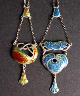 TWO SILVER AND ENAMEL NOVELTY STYLE NECKLACES.