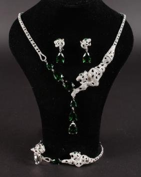 A SUITE OF SILVER PANTHER JEWELLERY, comprising