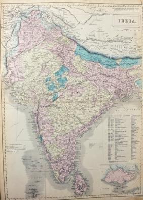 "S... Hall (19th - 20th Century) British. ""India"", Map,"