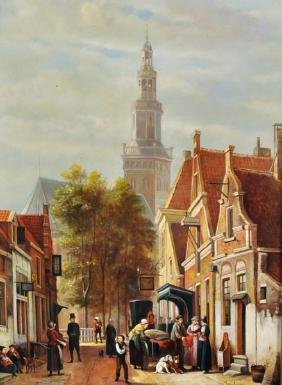Andrass (20th Century) Dutch. A Street Scene with