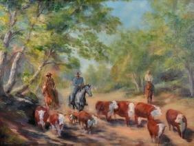 S... Bevan (20th Century) American. Cowboys Herding