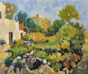 Hobley (20th Century) French. A Garden Scene by a