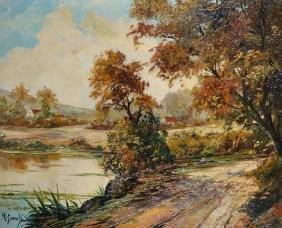 19th Century Dutch School. A River Landscape, Oil on