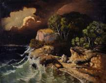19th Century French School. A Stormy Coastal Scene, Oil
