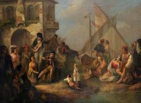 Hermann Brucke (1830-1871) German. 'Street Musicians
