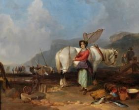 William Shayer (1788-1892) British. 'Fisherfolk on the